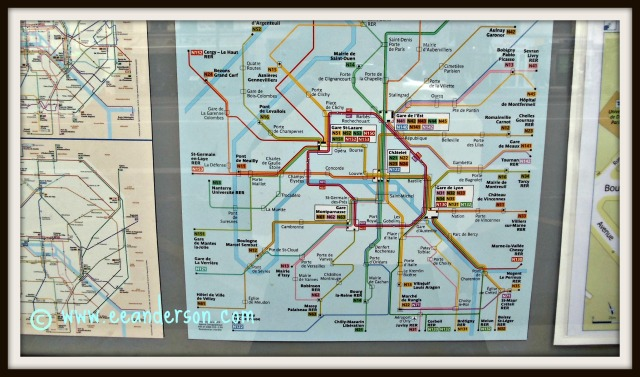 Transit maps posted at bus stops Paris