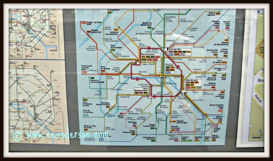 Transit maps posted at bus stops Paris