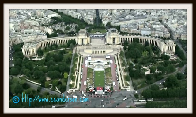Trocadero from up in Eiffel Tower