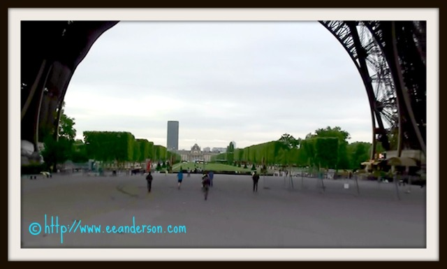 Entering under Eiffel Tower