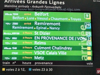 Arrival board Grand lines at Gare de 'est posted  VSOE Calais Ville