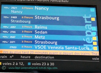 Departure board at Gare de l'est grand lines VSOE departure time for Saint Lucia station in Venice, Italy