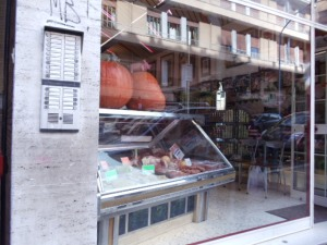 The meat shop near our apartment in Trastevere