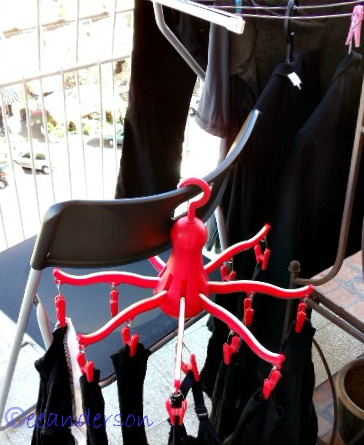 Clothes hung on a twirler