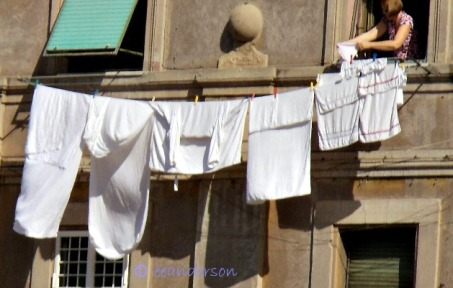 Clothes hanging on line