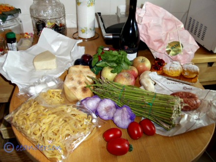 food  from the market and shops in Rome on the table
