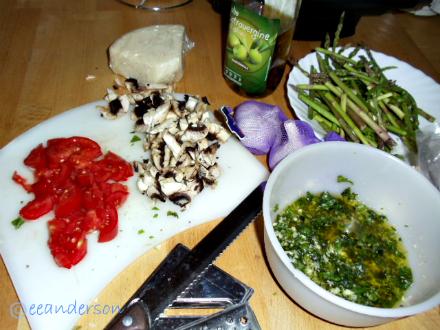 fresh food and pesto