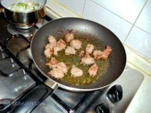 frying wild boar