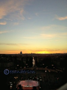 Sunset over Rome from Villa Borghese park