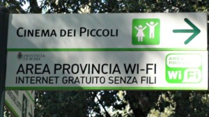 sign to direct you to WiFi zone Villa Borghese park Rome